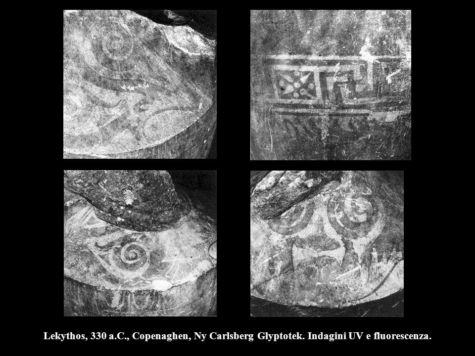 Lekythos, 330 a.C., Copenaghen, Ny Carlsberg Glyptotek. Indagini UV e fluorescenza.