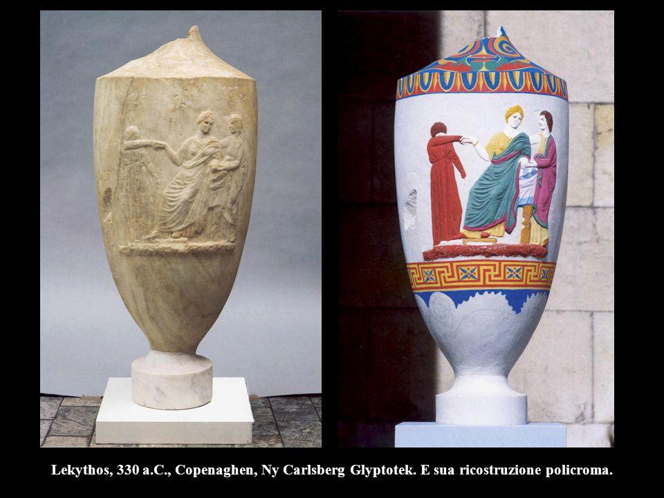 Lekythos, 330 a.C., Copenaghen, Ny Carlsberg Glyptotek. E sua ricostruzione policroma.