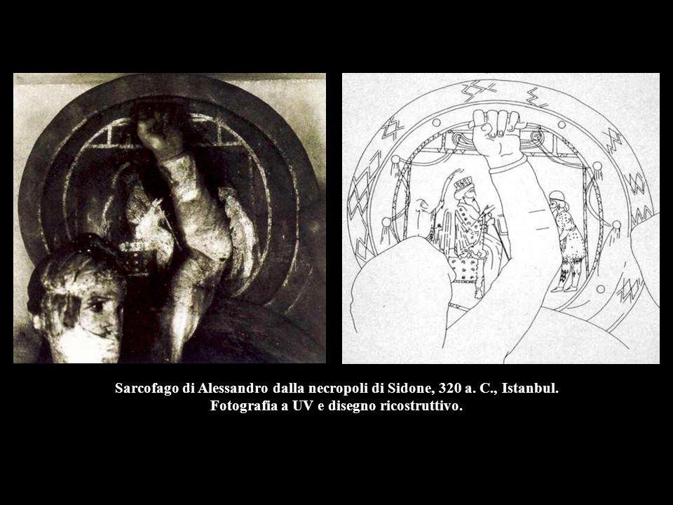 Sarcofago di Alessandro dalla necropoli di Sidone, 320 a. C., Istanbul. Fotografia a UV e disegno ricostruttivo.