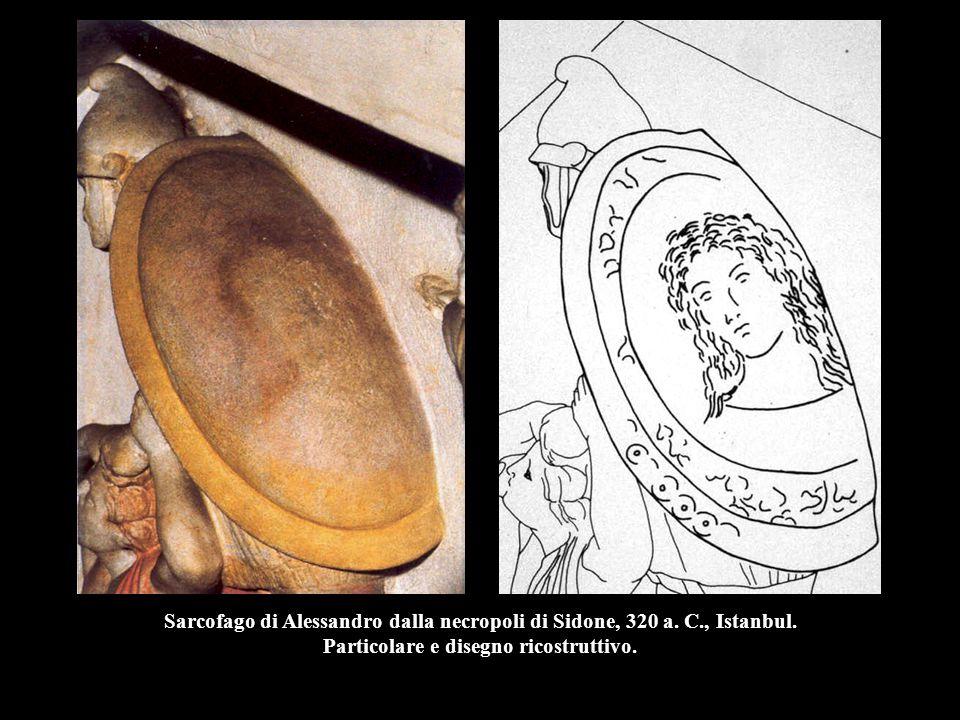 Sarcofago di Alessandro dalla necropoli di Sidone, 320 a. C., Istanbul. Particolare e disegno ricostruttivo.