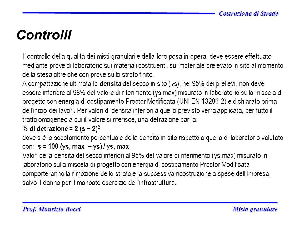 Prof. Maurizio Bocci Misto granulare Prof. Maurizio Bocci Misto granulare Costruzione di Strade Controlli Il controllo della qualità dei misti granula