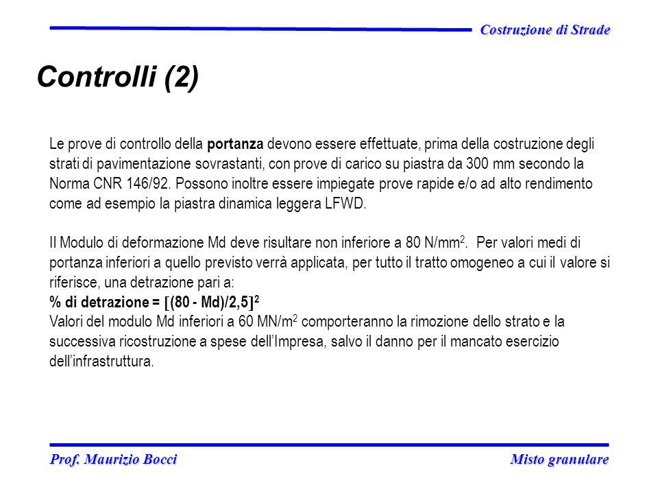 Prof. Maurizio Bocci Misto granulare Prof. Maurizio Bocci Misto granulare Costruzione di Strade Controlli (2) Le prove di controllo della portanza dev