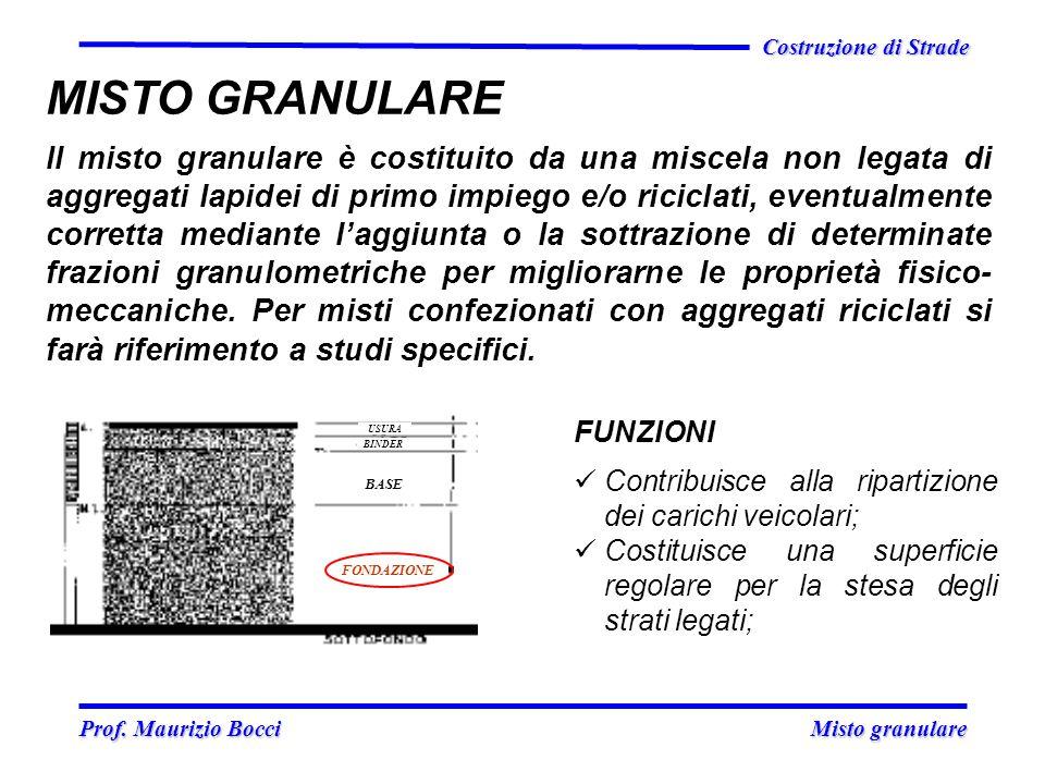 Prof. Maurizio Bocci Misto granulare Prof. Maurizio Bocci Misto granulare Costruzione di Strade MISTO GRANULARE Il misto granulare è costituito da una