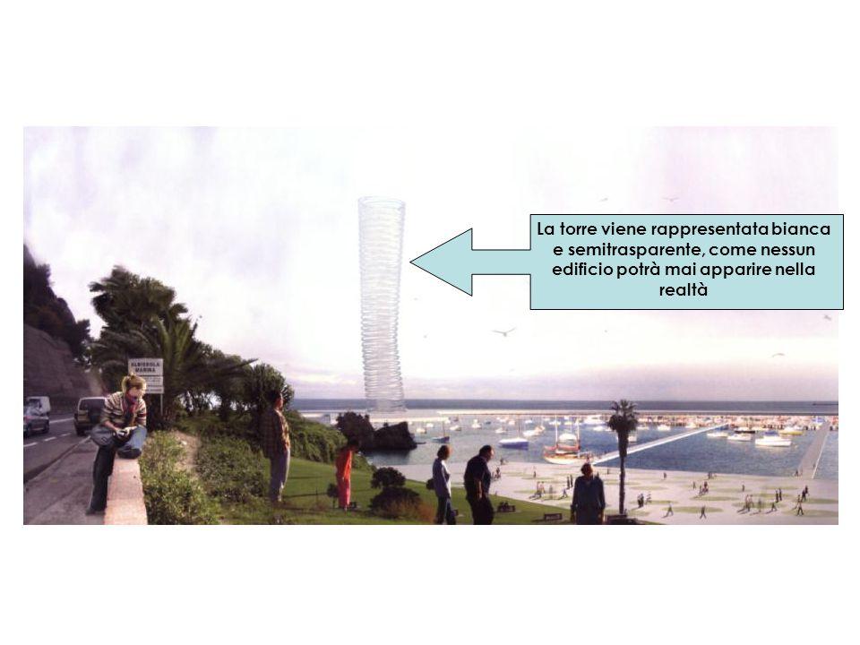 La torre viene rappresentata bianca e semitrasparente, come nessun edificio potrà mai apparire nella realtà