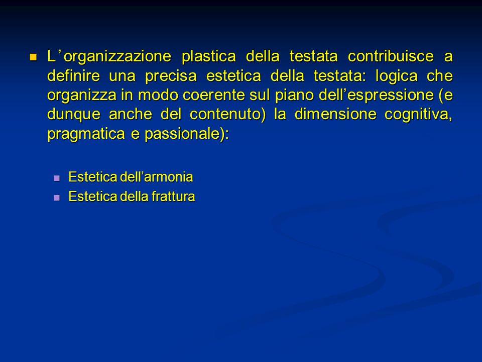 L'organizzazione plastica della testata contribuisce a definire una precisa estetica della testata: logica che organizza in modo coerente sul piano de