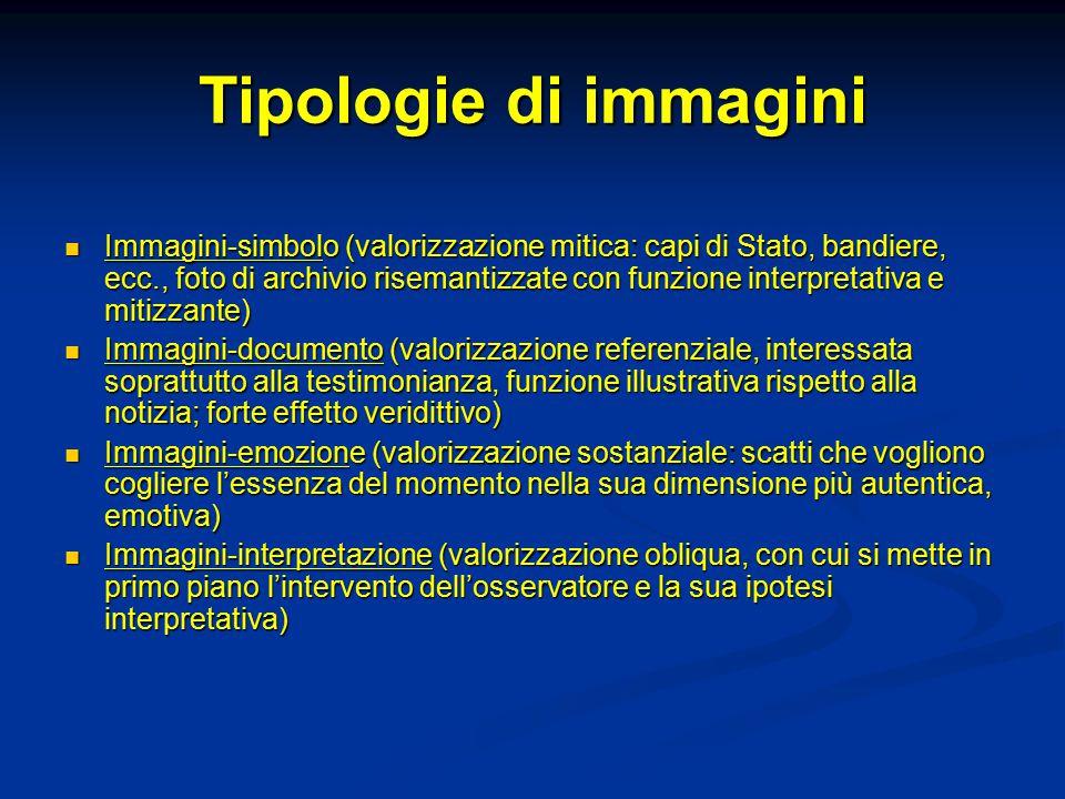 Tipologie di immagini Immagini-simbolo (valorizzazione mitica: capi di Stato, bandiere, ecc., foto di archivio risemantizzate con funzione interpretat