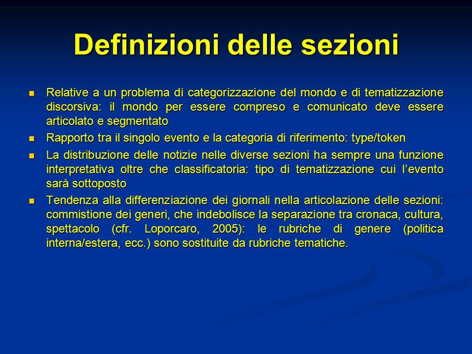 Definizioni delle sezioni Relative a un problema di categorizzazione del mondo e di tematizzazione discorsiva: il mondo per essere compreso e comunica