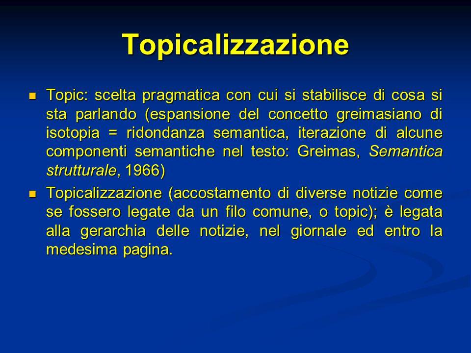 Topicalizzazione Topic: scelta pragmatica con cui si stabilisce di cosa si sta parlando (espansione del concetto greimasiano di isotopia = ridondanza semantica, iterazione di alcune componenti semantiche nel testo: Greimas, Semantica strutturale, 1966) Topic: scelta pragmatica con cui si stabilisce di cosa si sta parlando (espansione del concetto greimasiano di isotopia = ridondanza semantica, iterazione di alcune componenti semantiche nel testo: Greimas, Semantica strutturale, 1966) Topicalizzazione (accostamento di diverse notizie come se fossero legate da un filo comune, o topic); è legata alla gerarchia delle notizie, nel giornale ed entro la medesima pagina.