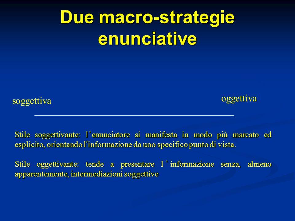 Due macro-strategie enunciative soggettiva oggettiva Stile soggettivante: l ' enunciatore si manifesta in modo più marcato ed esplicito, orientando l ' informazione da uno specifico punto di vista.
