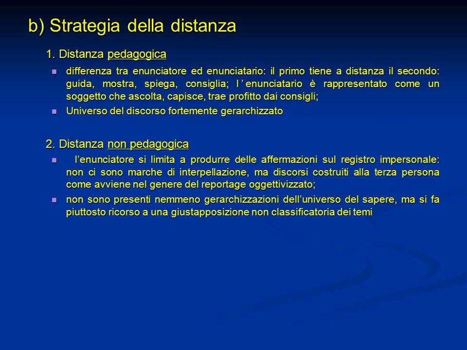 b) Strategia della distanza 1.