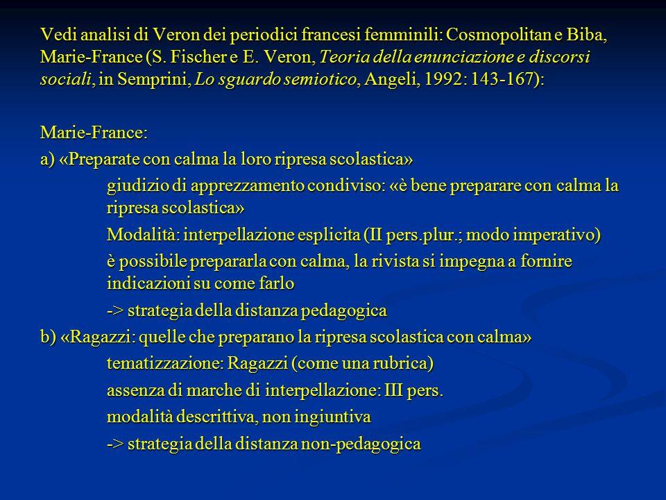 Vedi analisi di Veron dei periodici francesi femminili: Cosmopolitan e Biba, Marie-France (S. Fischer e E. Veron, Teoria della enunciazione e discorsi