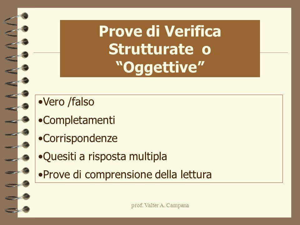 prof. Valter A. Campana Vero /falso Completamenti Corrispondenze Quesiti a risposta multipla Prove di comprensione della lettura Prove di Verifica Str