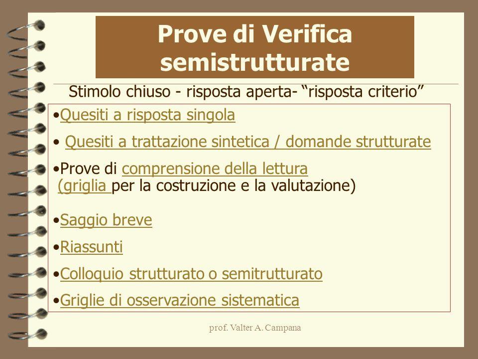 prof. Valter A. Campana Quesiti a risposta singola Quesiti a trattazione sintetica / domande strutturate Prove di comprensione della letturacomprensio