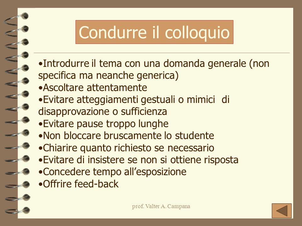 prof. Valter A. Campana Introdurre il tema con una domanda generale (non specifica ma neanche generica) Ascoltare attentamente Evitare atteggiamenti g