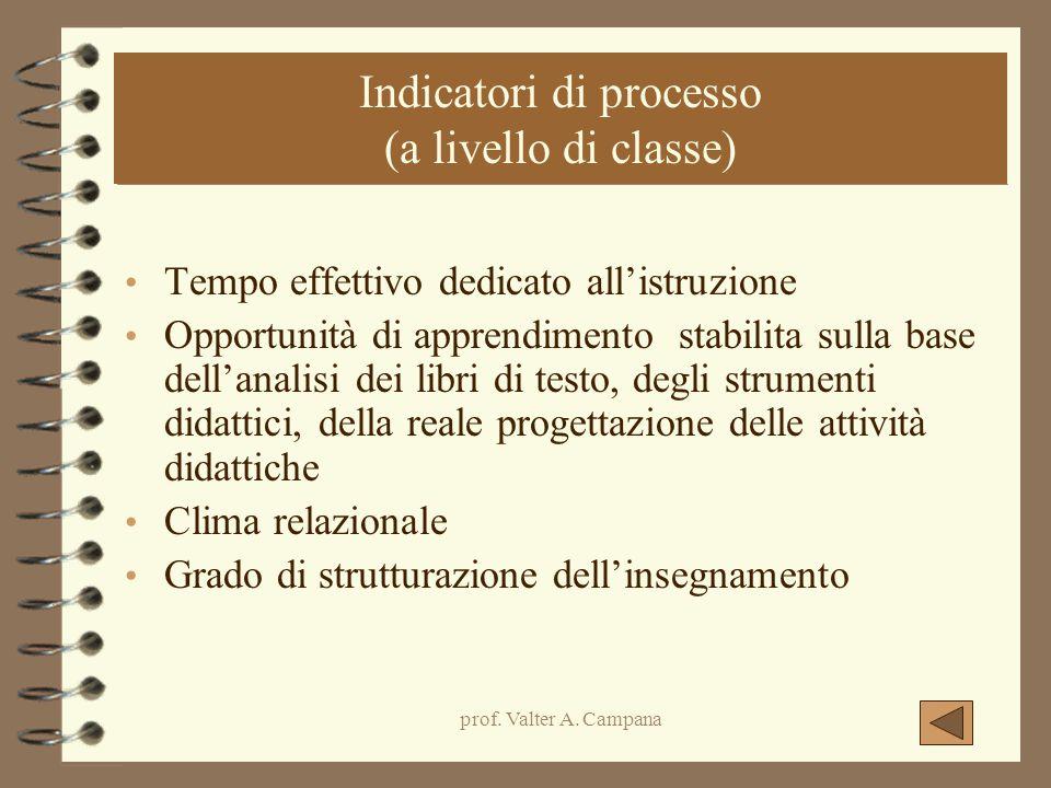prof. Valter A. Campana Indicatori di processo (a livello di classe) Tempo effettivo dedicato all'istruzione Opportunità di apprendimento stabilita su