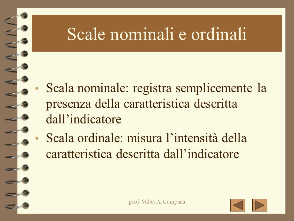 prof. Valter A. Campana Scale nominali e ordinali Scala nominale: registra semplicemente la presenza della caratteristica descritta dall'indicatore Sc