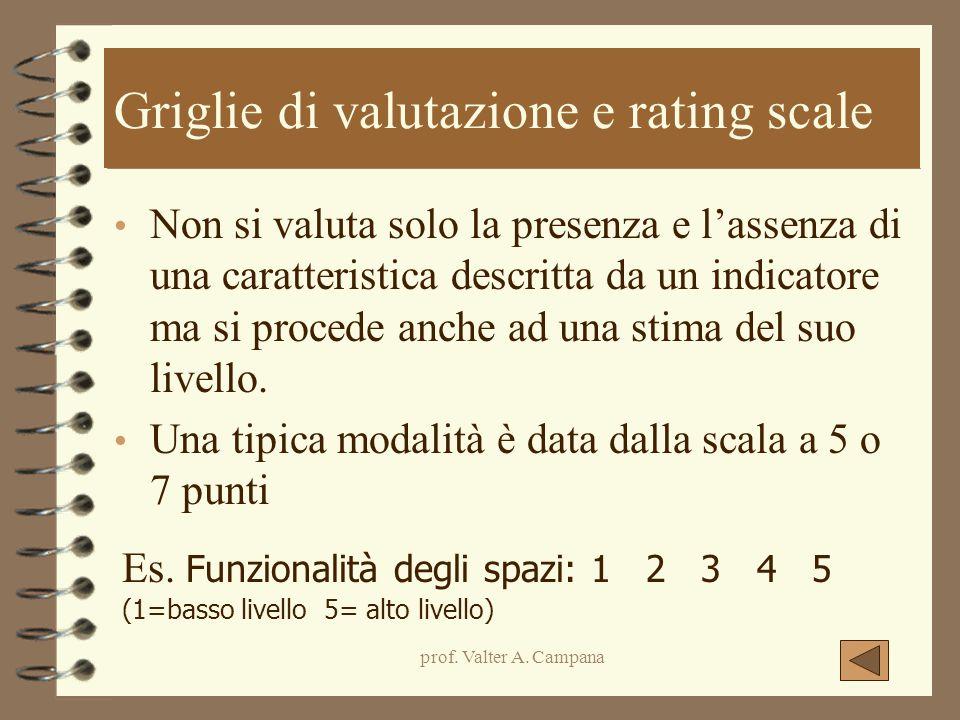 prof. Valter A. Campana Griglie di valutazione e rating scale Non si valuta solo la presenza e l'assenza di una caratteristica descritta da un indicat