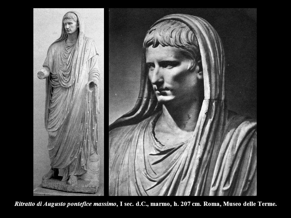Ritratto di Augusto pontefice massimo, I sec. d.C., marmo, h. 207 cm. Roma, Museo delle Terme.