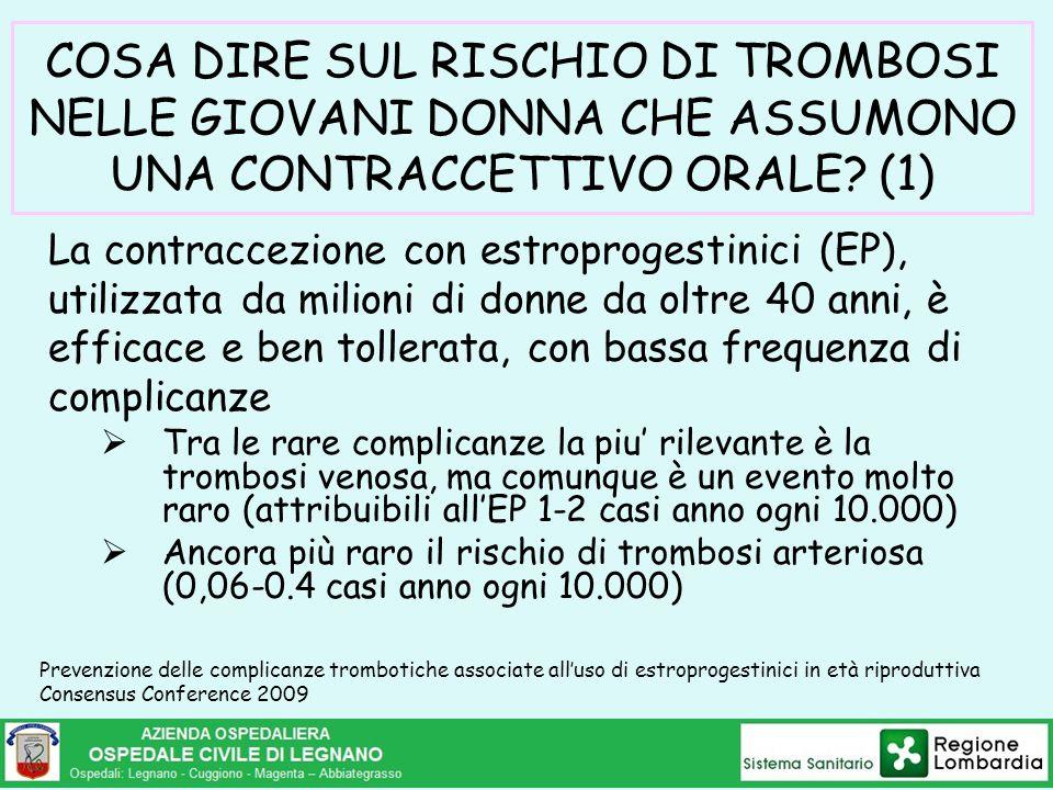 COSA DIRE SUL RISCHIO DI TROMBOSI NELLE GIOVANI DONNA CHE ASSUMONO UNA CONTRACCETTIVO ORALE? (1) La contraccezione con estroprogestinici (EP), utilizz