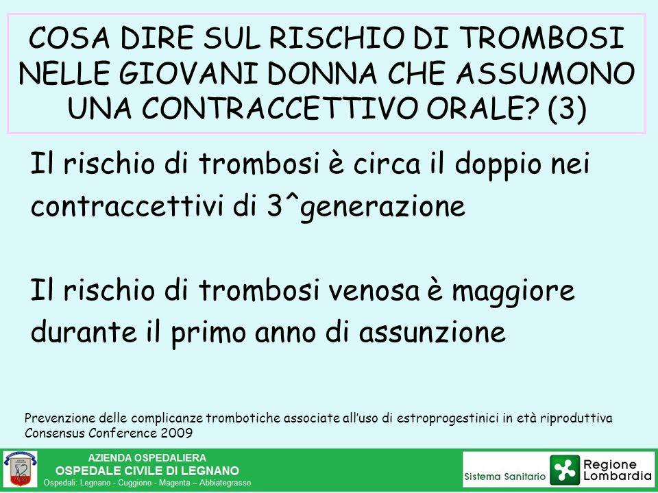 COSA DIRE SUL RISCHIO DI TROMBOSI NELLE GIOVANI DONNA CHE ASSUMONO UNA CONTRACCETTIVO ORALE? (3) Il rischio di trombosi è circa il doppio nei contracc