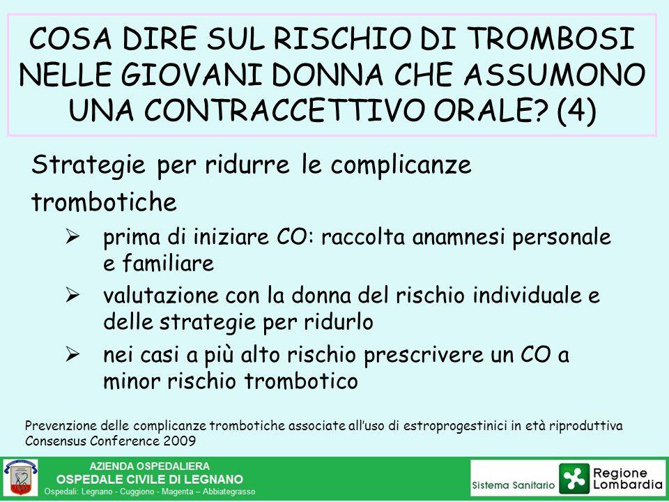 COSA DIRE SUL RISCHIO DI TROMBOSI NELLE GIOVANI DONNA CHE ASSUMONO UNA CONTRACCETTIVO ORALE? (4) Strategie per ridurre le complicanze trombotiche  pr