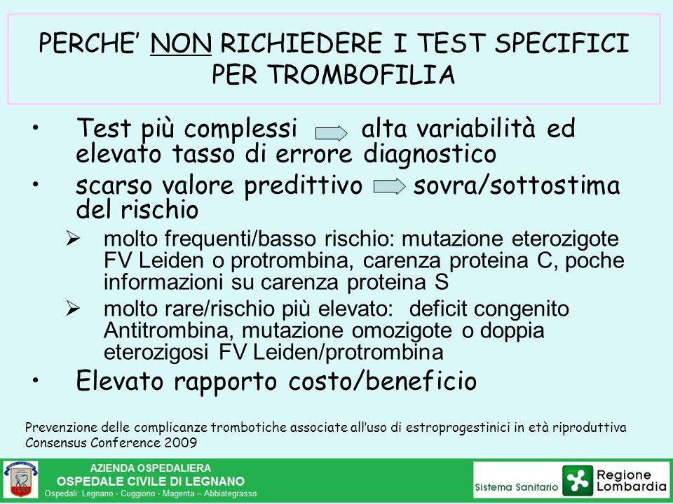 PERCHE' NON RICHIEDERE I TEST SPECIFICI PER TROMBOFILIA Test più complessi alta variabilità ed elevato tasso di errore diagnostico scarso valore predi