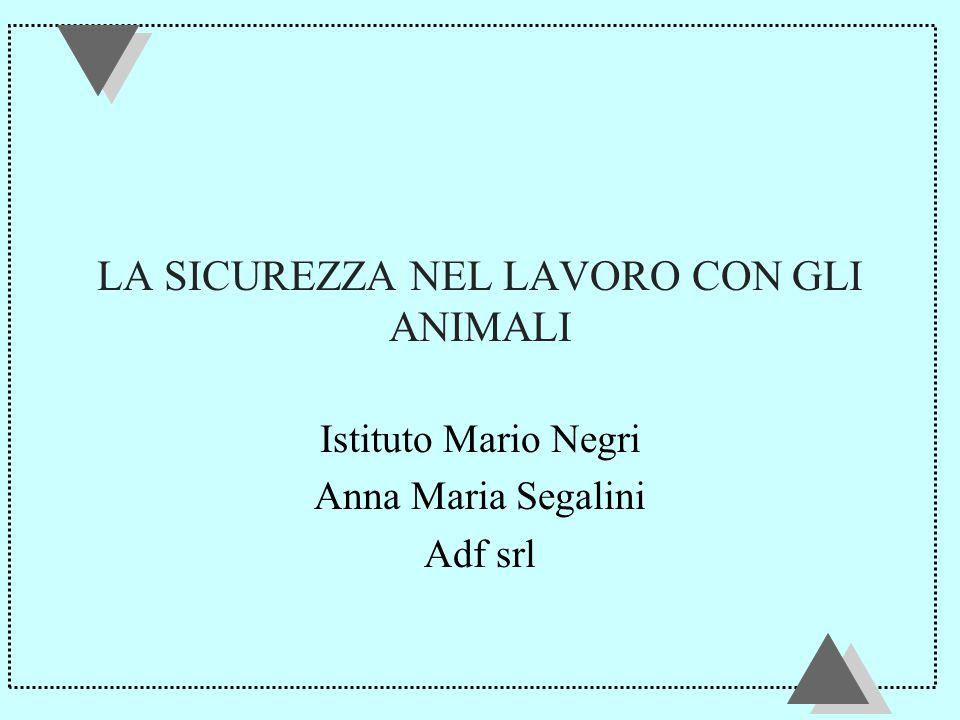 LA SICUREZZA NEL LAVORO CON GLI ANIMALI Istituto Mario Negri Anna Maria Segalini Adf srl