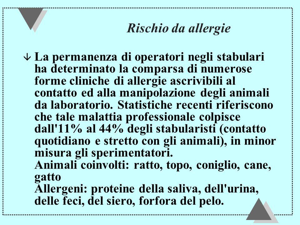 Rischio da allergie â La permanenza di operatori negli stabulari ha determinato la comparsa di numerose forme cliniche di allergie ascrivibili al contatto ed alla manipolazione degli animali da laboratorio.