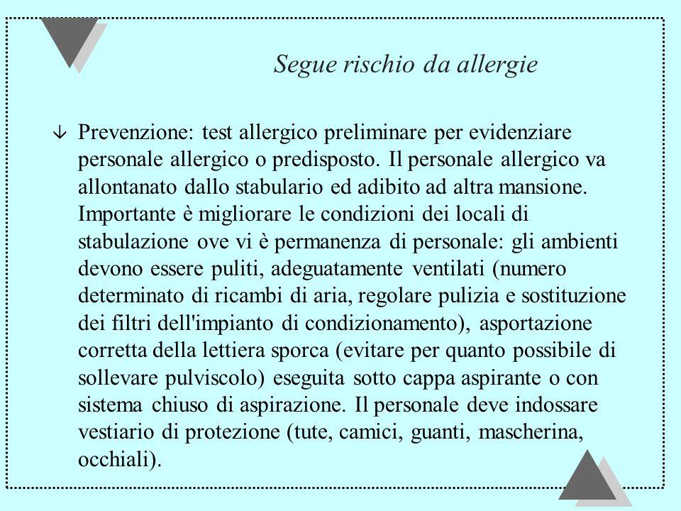 Segue rischio da allergie â Prevenzione: test allergico preliminare per evidenziare personale allergico o predisposto.