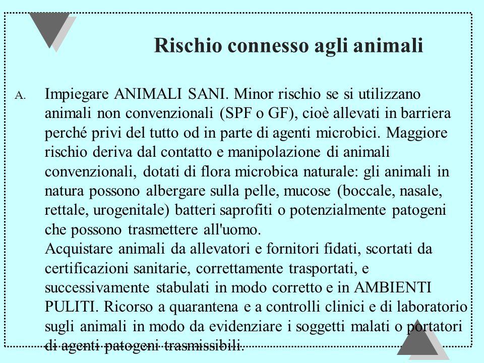 Rischio connesso agli animali A.Impiegare ANIMALI SANI.