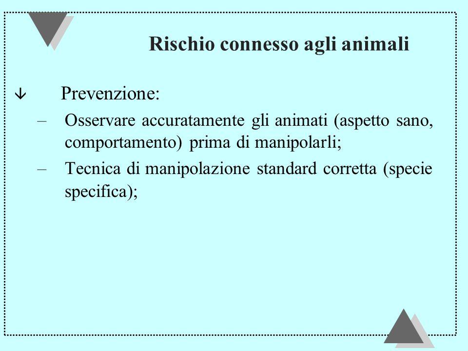 Rischio connesso agli animali â Prevenzione: –Osservare accuratamente gli animati (aspetto sano, comportamento) prima di manipolarli; –Tecnica di manipolazione standard corretta (specie specifica);