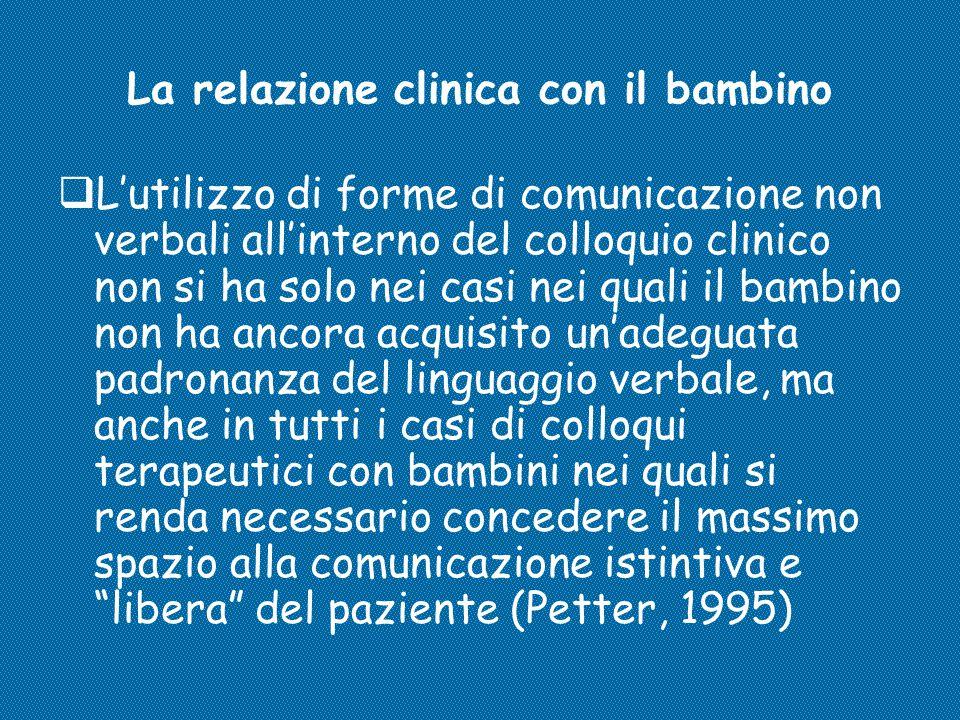 La relazione clinica con il bambino  L'utilizzo di forme di comunicazione non verbali all'interno del colloquio clinico non si ha solo nei casi nei q