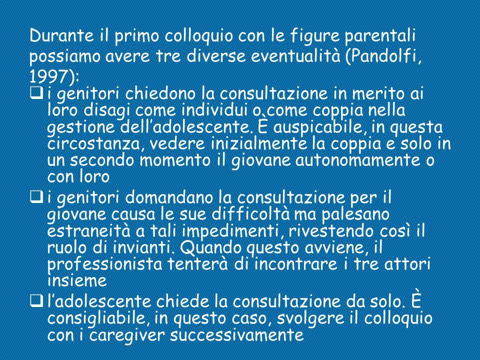 Durante il primo colloquio con le figure parentali possiamo avere tre diverse eventualità (Pandolfi, 1997):  i genitori chiedono la consultazione in