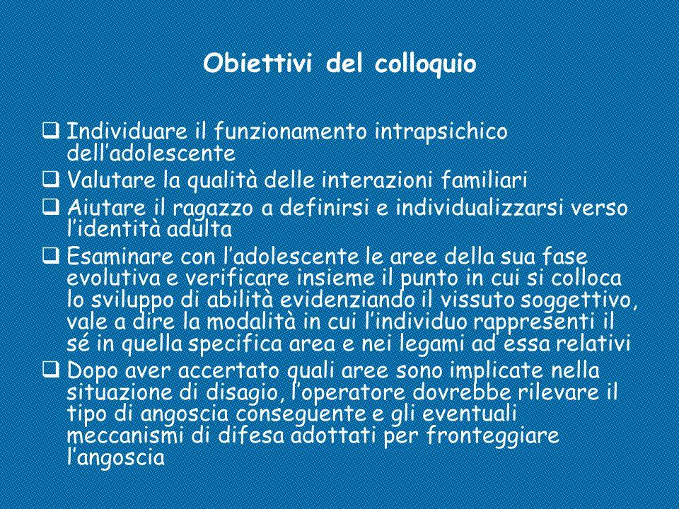 Obiettivi del colloquio  Individuare il funzionamento intrapsichico dell'adolescente  Valutare la qualità delle interazioni familiari  Aiutare il r