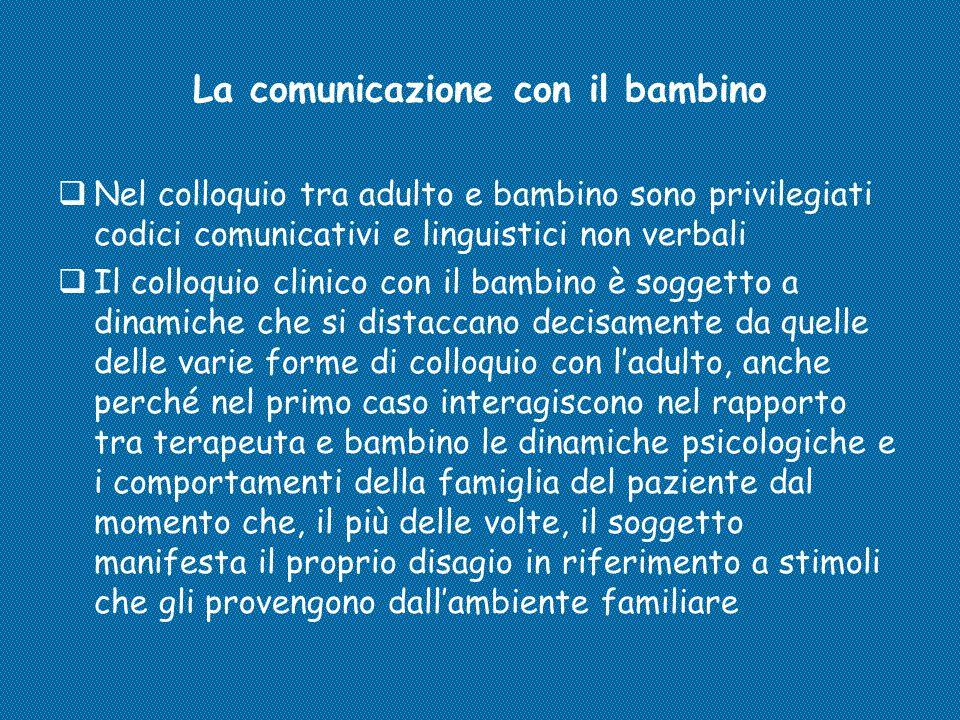 La comunicazione con il bambino  Nel colloquio tra adulto e bambino sono privilegiati codici comunicativi e linguistici non verbali  Il colloquio cl