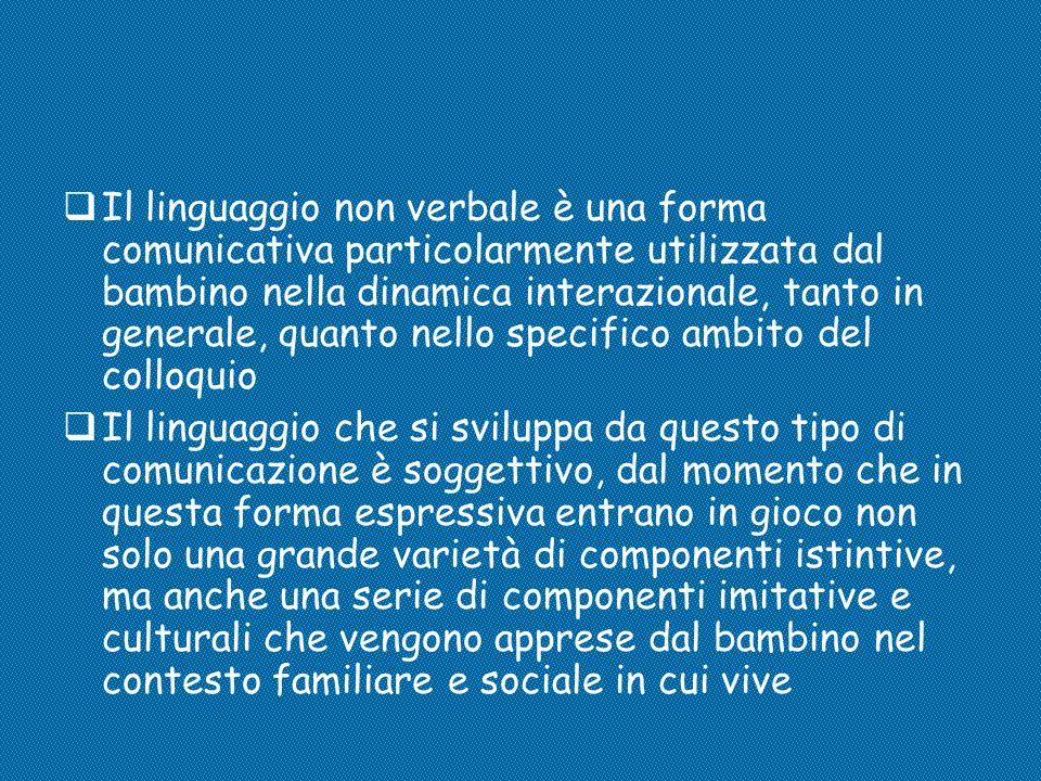  Il linguaggio non verbale è una forma comunicativa particolarmente utilizzata dal bambino nella dinamica interazionale, tanto in generale, quanto ne
