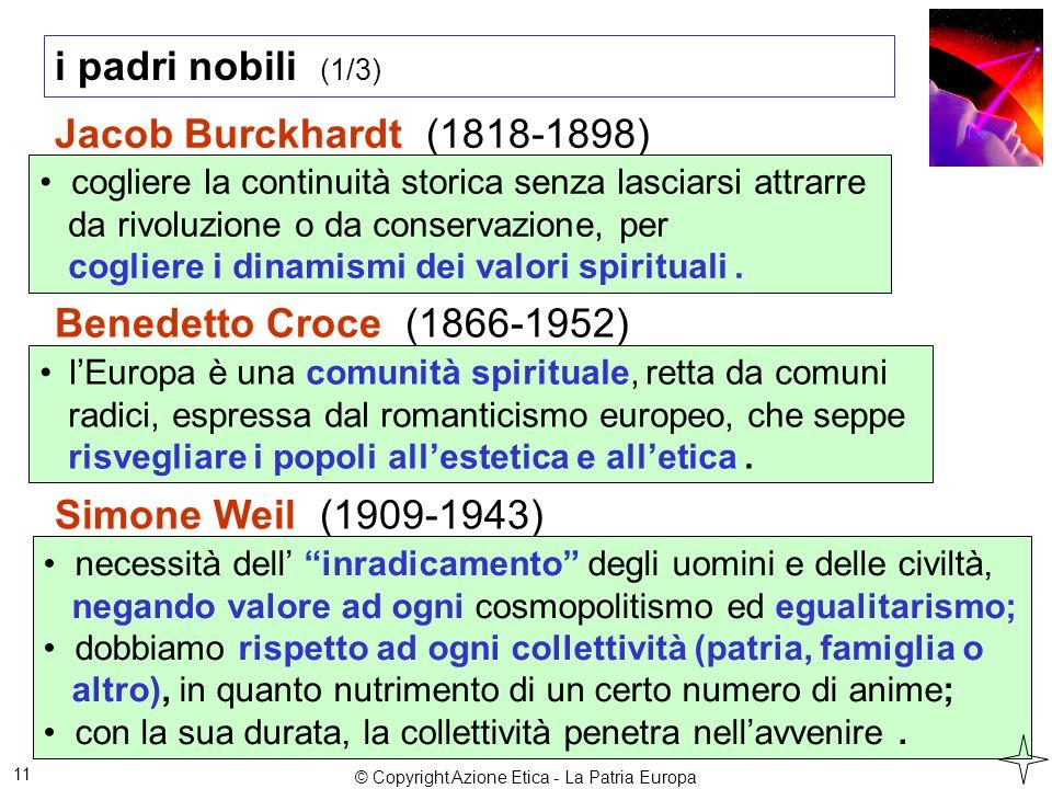 i padri nobili (1/3) 11 Jacob Burckhardt (1818-1898) cogliere la continuità storica senza lasciarsi attrarre da rivoluzione o da conservazione, per cogliere i dinamismi dei valori spirituali.