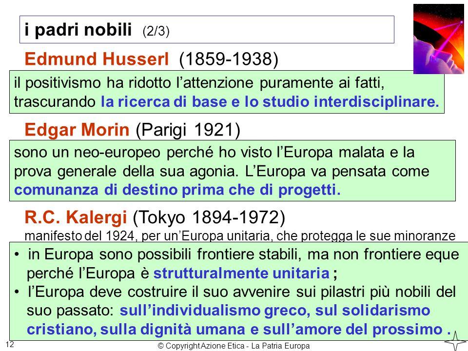 i padri nobili (2/3) 12 Edmund Husserl (1859-1938) il positivismo ha ridotto l'attenzione puramente ai fatti, trascurando la ricerca di base e lo studio interdisciplinare.