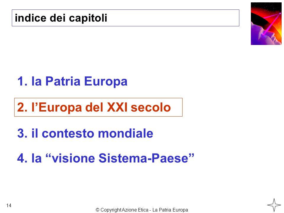 indice dei capitoli 1.la Patria Europa 2.l'Europa del XXI secolo 3.il contesto mondiale 14 4.la visione Sistema-Paese © Copyright Azione Etica - La Patria Europa