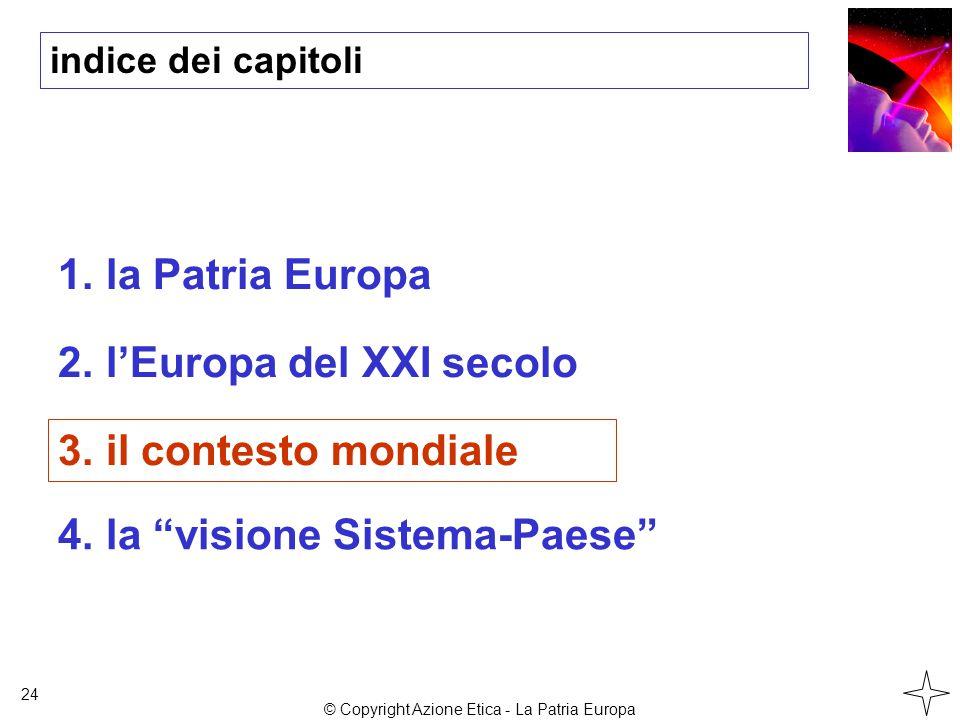 indice dei capitoli 1.la Patria Europa 2.l'Europa del XXI secolo 3.il contesto mondiale 24 4.la visione Sistema-Paese © Copyright Azione Etica - La Patria Europa