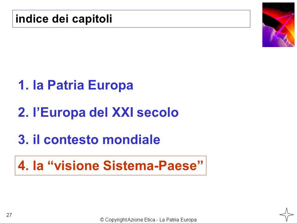 indice dei capitoli 1.la Patria Europa 2.l'Europa del XXI secolo 3.il contesto mondiale 27 4.la visione Sistema-Paese © Copyright Azione Etica - La Patria Europa