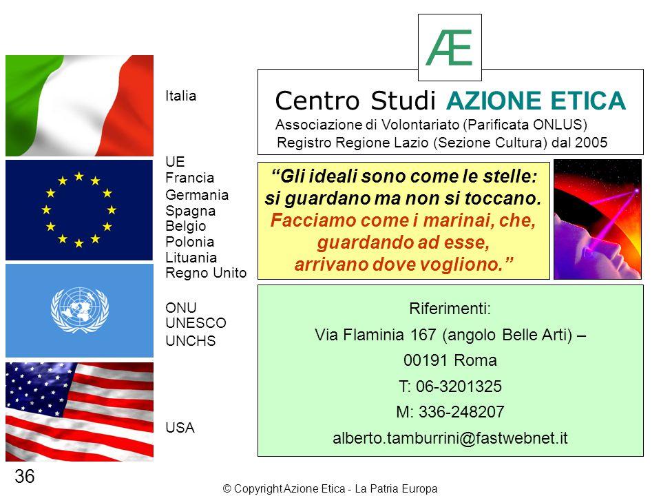 Francia Spagna Regno Unito USA Lituania Polonia Belgio Germania Italia UE ONU UNESCO UNCHS Gli ideali sono come le stelle: si guardano ma non si toccano.