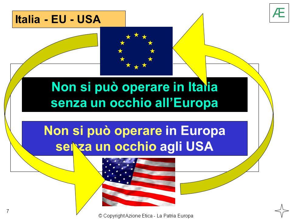 Italia - EU - USA 7 Non si può operare in Italia senza un occhio all'Europa Non si può operare in Europa senza un occhio agli USA Æ © Copyright Azione Etica - La Patria Europa