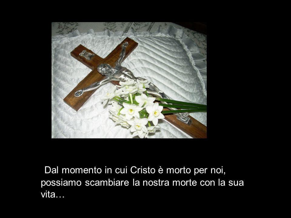 Dal momento in cui Cristo è morto per noi, possiamo scambiare la nostra morte con la sua vita…