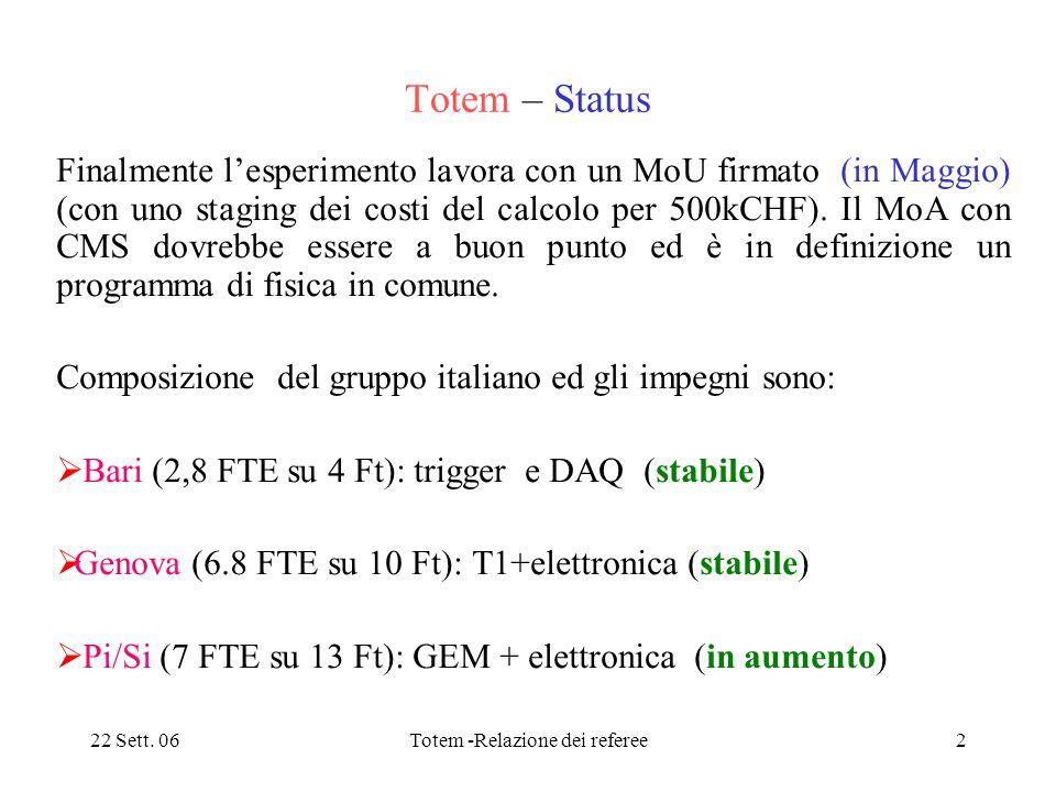22 Sett. 06Totem -Relazione dei referee2 Totem – Status Finalmente l'esperimento lavora con un MoU firmato (in Maggio) (con uno staging dei costi del