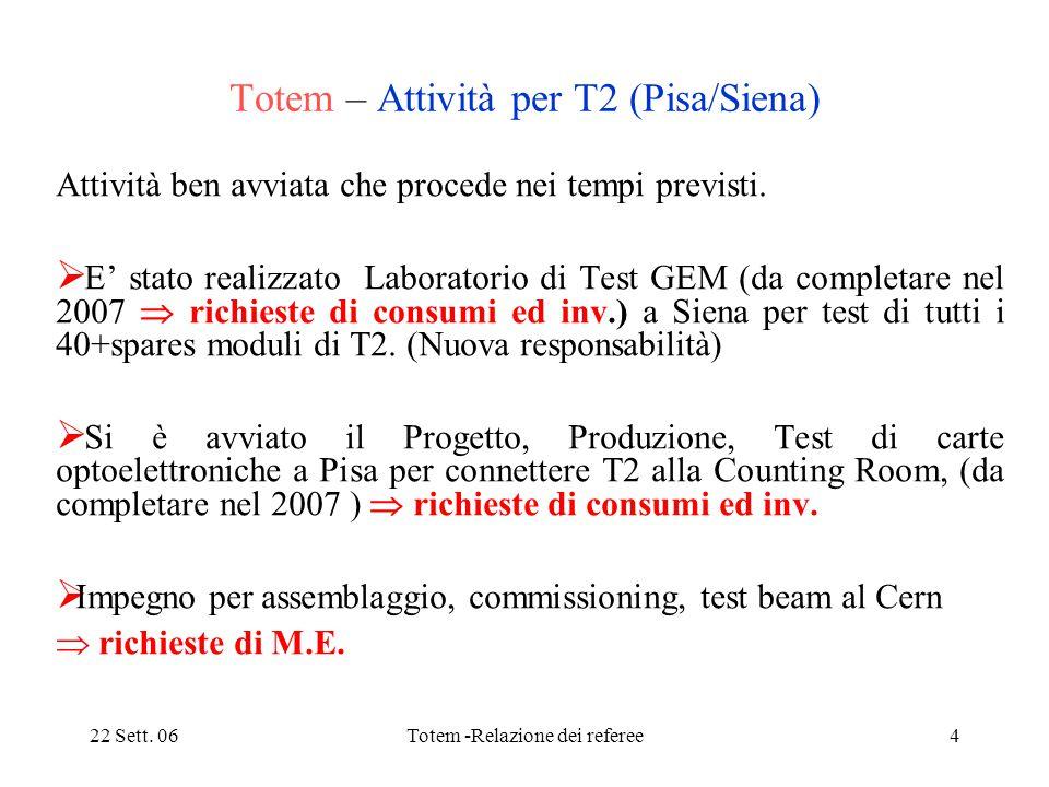 22 Sett. 06Totem -Relazione dei referee4 Totem – Attività per T2 (Pisa/Siena) Attività ben avviata che procede nei tempi previsti.  E' stato realizza