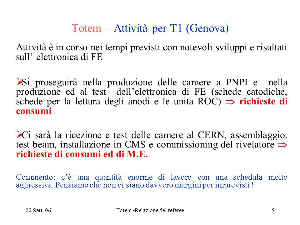 22 Sett. 06Totem -Relazione dei referee5 Totem – Attività per T1 (Genova) Attività è in corso nei tempi previsti con notevoli sviluppi e risultati sul