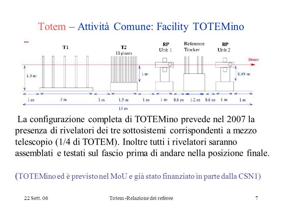 22 Sett. 06Totem -Relazione dei referee7 Totem – Attività Comune: Facility TOTEMino La configurazione completa di TOTEMino prevede nel 2007 la presenz