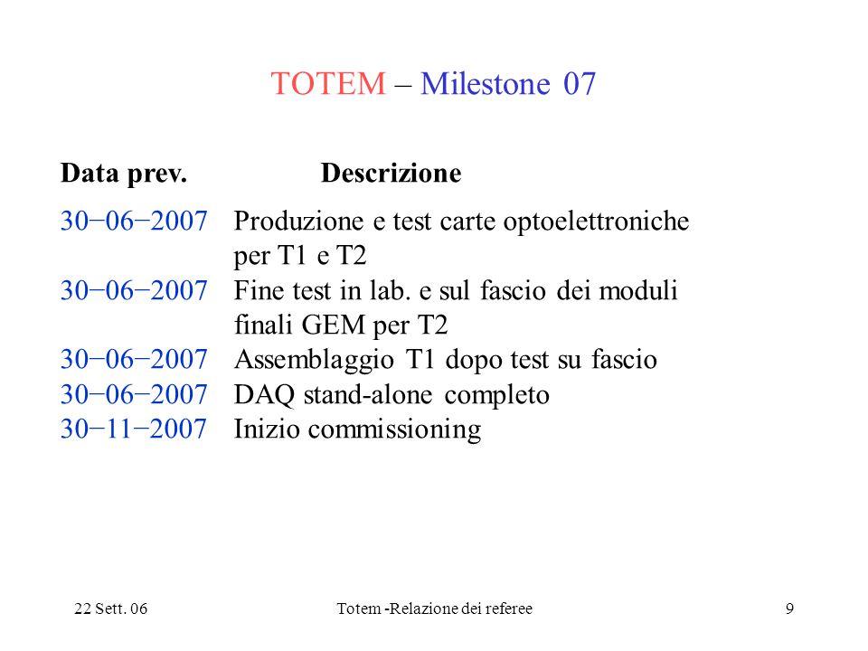 22 Sett. 06Totem -Relazione dei referee9 TOTEM – Milestone 07 Data prev. Descrizione 30−06−2007 Produzione e test carte optoelettroniche per T1 e T2 3
