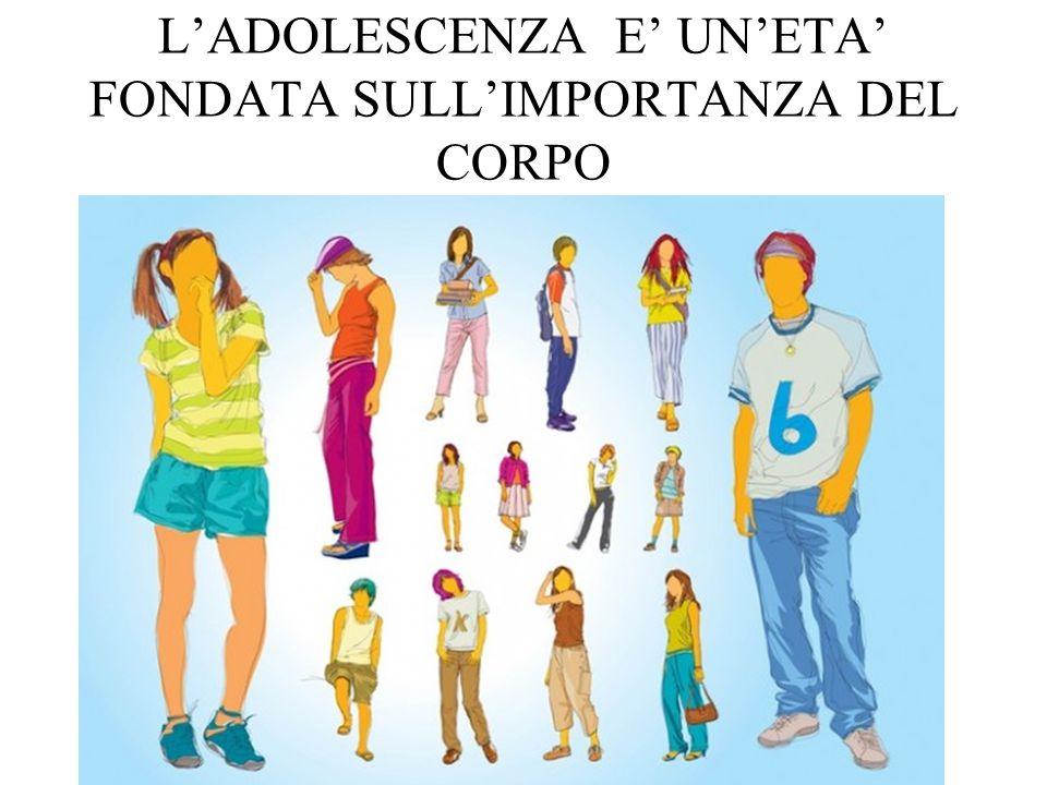 L'ADOLESCENZA E' UN'ETA' FONDATA SULL'IMPORTANZA DEL CORPO